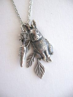 Bunny with Carrot Necklace Silver Rabbit Necklace by CharmedValley, $22.00