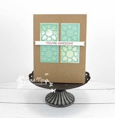 Created this for the Less is More Challenge last month. Had fun using the Moroccan Tiles by Do Crafts. Moroccan Tiles, Less Is More, You're Awesome, Crafts To Do, Card Stock, Card Making, Challenges, Creative, Fun