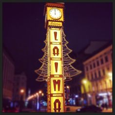 Laima clock in Old Riga. Winter time.