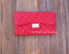 DISC. CODD: AMIE10 TO SAVE!!! Red Quilted Clutch - The Pink Lily Boutique
