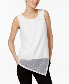 Calvin Klein Asymmetrical Striped Top | macys.com