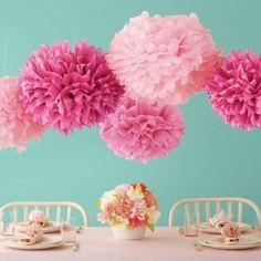 Pink Tissue Pom Poms for decorations