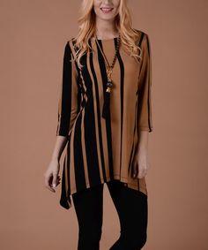 Taupe & Black Stripe Sidetail Tunic #zulily #zulilyfinds