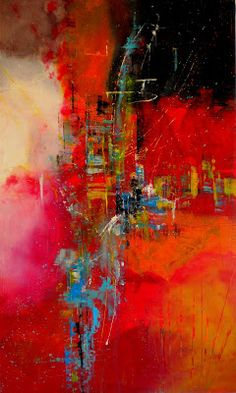 Daily Painters Abstract Gallery: City Celebration -- Large Contemporary Modern Painting by California Abstract Expressionist Painter JJ Jacobs