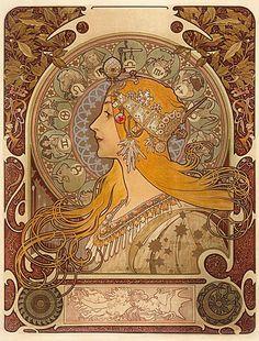 """Alphonse Mucha """"Zodiac"""" 1896 (Evelyn Nesbit)"""