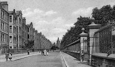 Old Photograph Baxter Park Terrace Dundee Scotland. No Cars, bins or lampost's. original railings on park and tenements too. Old Photographs, Old Photos, Dundee University, Great Britain, Edinburgh, Terrace, Scotland, Street View, Tours