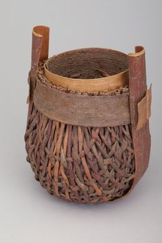 """Banded Pine Bark Basket"" 1984 from 'Collection Focus: Dorothy Gill Barnes and David Ellsworth' at the Racine Art Museum #finecraft"