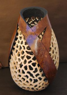 "*Gourd Art - ""Filigree Carved Bud Vase"" by Jonna Anderson-Bull"