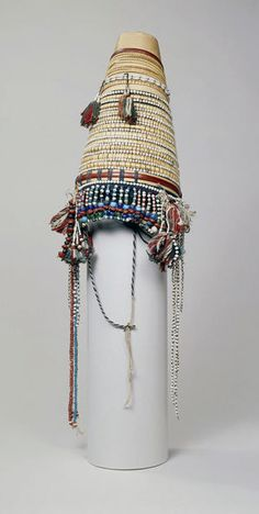 Burma ~ Shan | Hat; Palmyra palm leaf, beads and seeds | ca. 1st quarter of the 20th century || It would have been worn as an every day garment, as well as on special occasions, by a woman of the Akha hill tribe of Kentung State--the eastern most state of Burma which borders Thailand.
