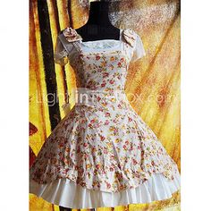 Sleevelees Knee-length Floral Cotton Country Lolita Dress