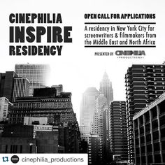 #Repost @cinephilia_productions with @repostapp.  Open call for applications - Cinephilia INSPIRE Residency (CIR) is a 2-week residency program in New YOrk City for emerging and mid career screenwriters and film directors from the Middle East and North Africa (see countries below) working on developing their first second or third  fiction or documentary feature film. Apply and learn more link in bio). (Residency photo by photographer @fiorella_occhipinti) #CIR #filmmaking #screenwriting…