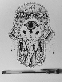 art - hamsa hand - elephant - hippy - indie - hipster - drawing - ballpoint
