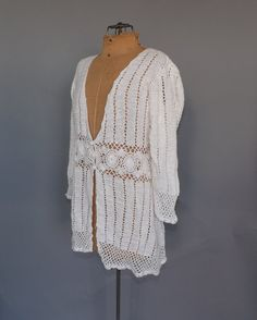 Vintage 90s does 70s Boho White Ramie Crochet by alicksandraflin