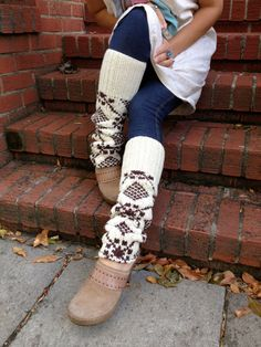 Eco  Leg Warmers cream and brown chunky  repurposed wool by zasra, $25.00