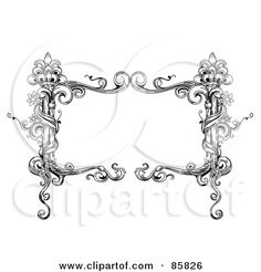 Royalty-Free (RF) Clipart Illustration of a Vintage Black And White Rectangular Floral Vine Text Box by BNP Design Studio