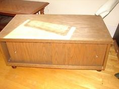 Vintage solid wood stereo or TV Console on sheppard castors