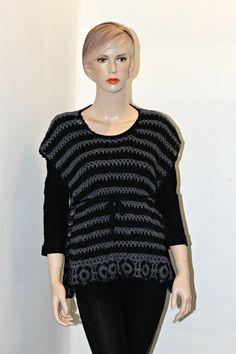 Hey, I found this really awesome Etsy listing at https://www.etsy.com/listing/93075500/crochet-grey-and-black-poncho-vest