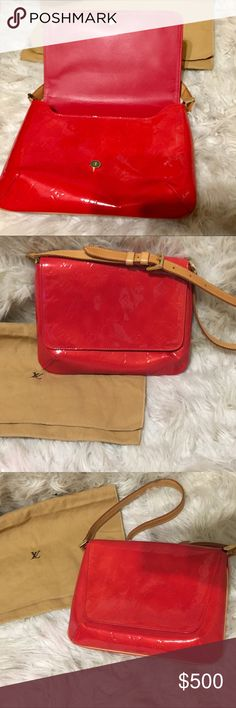"""100% Authentic Louis Vuitton Vernis Thompson bag Authentic Louis Vuitton Red Vernis Thompson street shoulder bag. Like new condition. Louis Vuitton MaterialVernis leather ColorRed Country of ManufactureSpain Size (inch) (Appro.)W9.8 × H8.2 × D1.9 """" /Strap Drop. 8.6-13.3""""(Approx). Bundle and save 15% Louis Vuitton Bags Shoulder Bags"""