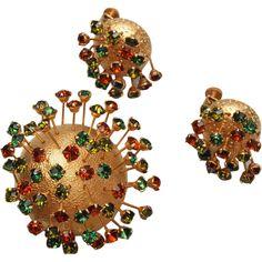 Coro Craft Sputnik Brooch and Earring Set