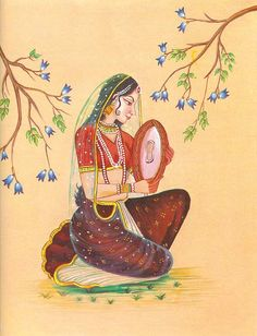 Lady Playing Dafli (Reprint on Paper - Unframed) Mysore Painting, Rajasthani Painting, Rajasthani Art, Tanjore Painting, Krishna Painting, Mughal Miniature Paintings, Mughal Paintings, Indian Art Paintings, Indian Drawing