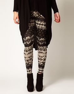 ASOS CURVE Plus Size Exclusive Leggings in Cable Knit Print
