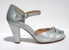 Remix Vintage Shoes, Ritz Peeptoe Sandal in Mattee Antique Silver Metallic Leather