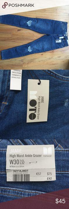 Topshop Moto Jamie High Waist Ankle Grazer Jeans Medium wash, distressed denim. Never worn! Topshop Pants Skinny