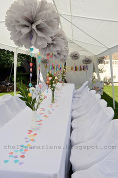 Love the all white linen tablecloths and chair covers match with rainbow decorations. #LinenTablecloth Customer photo