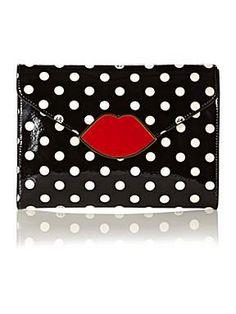 Lulu Guinness Lips patent clutch bag