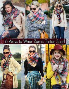 6 Ways To Wear Zara's Tartan Scarf Fashion Moda, Look Fashion, Winter Fashion, Fashion Women, How To Wear A Blanket Scarf, How To Wear Scarves, Plaid Blanket, Sweater Weather, Mode Style