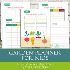 Garden Planner for Kids - Instant Download Digital Files - 8.5x11 Print At Home