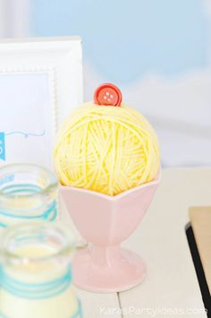 Yarn ice cream sundae at a sewing themed birthday party via Kara's Party Ideas | Kara Allen | KarasPartyIdeas.com A lot of cute as a button elements, decor, cupcakes, food, games and more!_-11