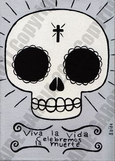 Day of the Dead Skull Original Painting 5x7 sugar skull by saide, $25.00