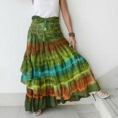 Wrap Skirt,Ruffle Skirt,Unique Tie Dye , Up To Plus Size, 100% Cotton. $42.00, via Etsy.