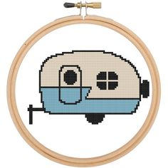 Little Blue Vintage Camper Blue Retro Cross by spotyourcolors