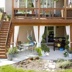 large deck with patio and potting station underneath A charming patio filled with amenities can be a warm weather getaway, right in your backyard. Create a patio you can enjoy with these tips.