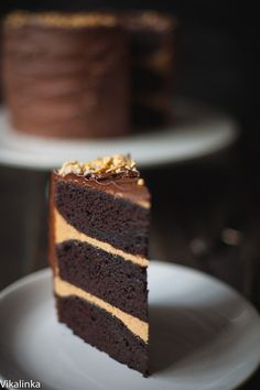 Chocolate cake with salted caramel buttercream and crushed honeycomb, covered in chocolate ganache.