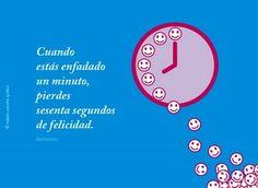 Frases célebres y citas ilustradas: Cuando estás enfadado un minuto, pierdes sesenta segundos de felicidad.