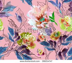 Seamless Pattern Watercolor Hand Drawn Artwork Illustration Peony with Doodle Leaves Blue on Pink Background - stock photo