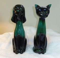 Blue Mountain Pottery 14 Dog and Cat Figurines Black