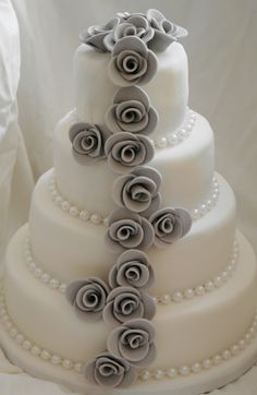 Grey Rose Cascade and White Pearl Wedding Cake | Flickr - Photo ...