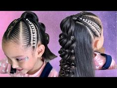 PEINADO CON LIGAS Y TRENZAS RAPERAS/ TRENZAS RAPERAS Y LIGAS - YouTube Kids Hairstyles For Wedding, Kids Braided Hairstyles, Little Girl Hairstyles, Cute Hairstyles, Wedding Hairstyle, Little Girl Braids, Braids For Kids, Cut My Hair, Hair Cuts