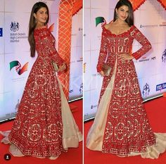 Yay or Nay : Jacqueline Fernandez in Manish Malhotra Dress Indian Style, Indian Dresses, Indian Outfits, Indian Attire, Indian Wear, Designer Bridal Lehenga, Bridal Lehenga Choli, Special Dresses, Nice Dresses