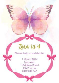 Invitación de la mariposa. Invitación de por LittleZeePrintables