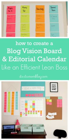 How to create a vision board and editorial calendar like an efficient lean boss. Creating A Vision Board, Creating A Blog, Blogger Tips, Make Money Blogging, How To Make Money, Branding, Blog Planner, Blogging For Beginners, Marketing