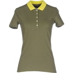 Tommy Hilfiger Polo Shirt ($79) ❤ liked on Polyvore featuring tops, military green, green polo shirts, olive green polo shirt, olive polo shirt, stretch polo shirt and stretchy tops