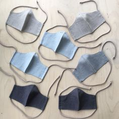 Reusable linen face masks. Filter pocket and nose wire. Handmade in Finland. 👋🏻🤍 Filter, Embroidery Bags, Recycle Jeans, Photo Blue, Makeup Pouch, Recycled Denim, Patchwork Bags, Linen Bag, Denim Bag