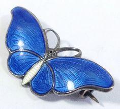 Vintage H C Ostrem Norway 925 Sterling Guilloche Enamel Butterfly Aqua Pin | eBay