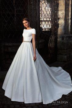 crystal design bridal 2016 short sleeves bateau neckline elegant chic simple a  line ball gown wedding dress open back chapel train (roma) mv