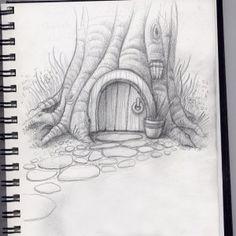 hobbit home Faser Kunst Landscape Pencil Drawings, Pencil Art Drawings, Simple Landscape Drawing, Creative Pencil Drawings, Landscape Sketch, Art Drawings Sketches Simple, Pencil Sketches Simple, Tree Pencil Sketch, Easy Nature Drawings